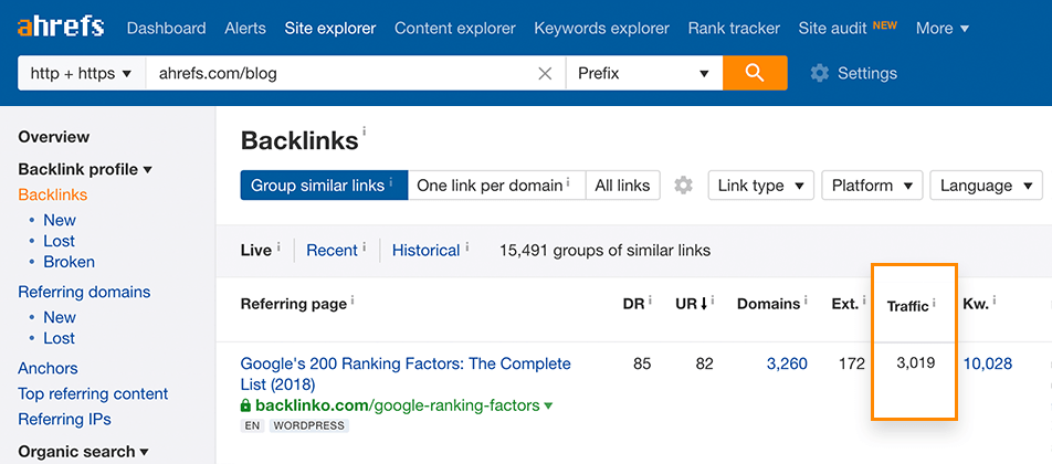Backlinks report