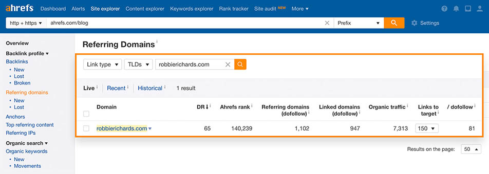 referring domains search